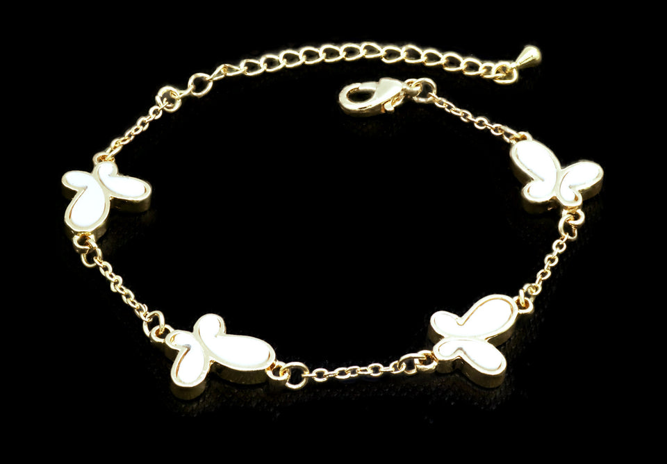 Women's white Butterfly Bracelet with lobster clasp