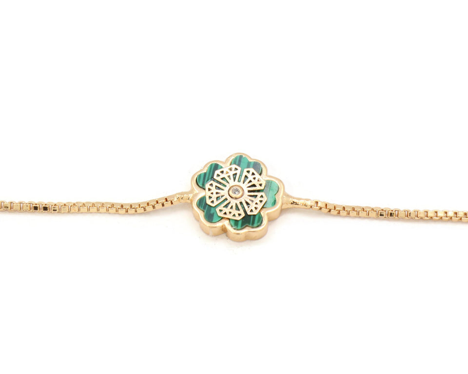 Women's Bracelet floral Slider gold plated bracelet