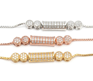 3 piece Women's bracelet in gold, rhodium and copper platted, Zircon stone studded  bracelet for women, Beautiful Slider gold platted bracelet.