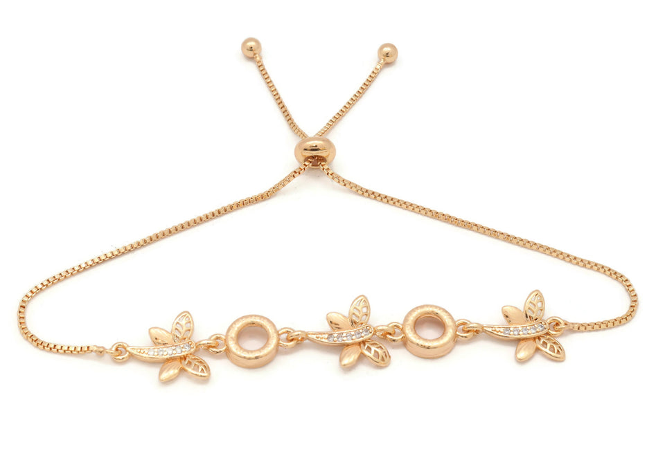 Women's bracelet, Triple Butterfly bracelet for women, Beautiful Slider gold platted bracelet.