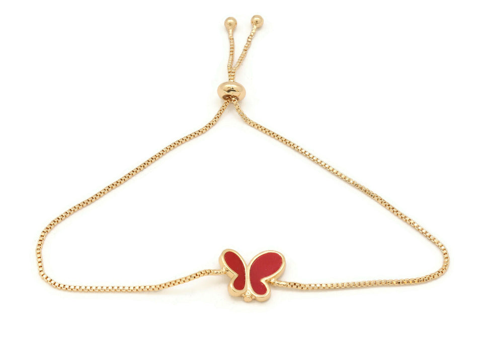 Women's bracelet, Ceramic Red Butterfly bracelet for women, Beautiful Slider gold platted bracelet.
