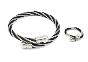Cable Cuff Bracelets + Ring Set Two Tone