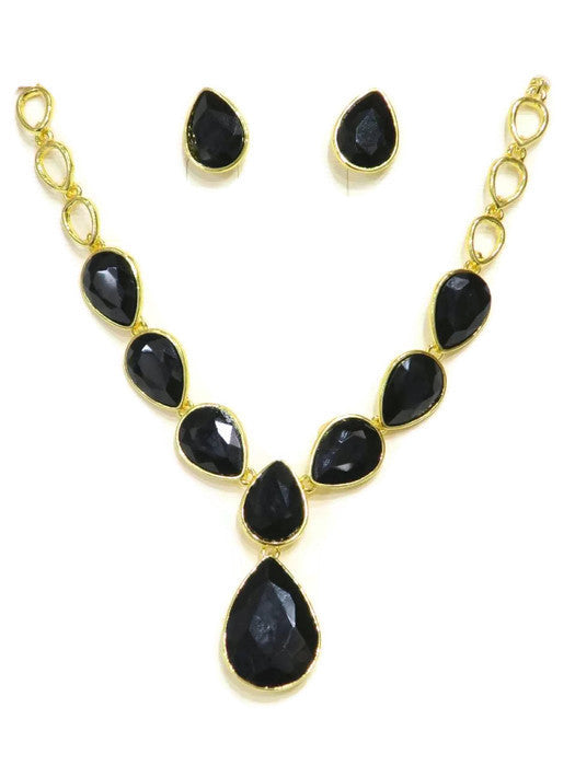 18 Kt Gold Plated Black Drop Crystal Necklace and Earring Set - Jawaherat