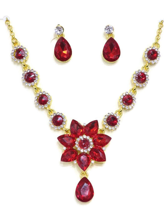 18Kt Gold Plated Red Crystal Flower Drop Necklace and Earring Set - Jawaherat