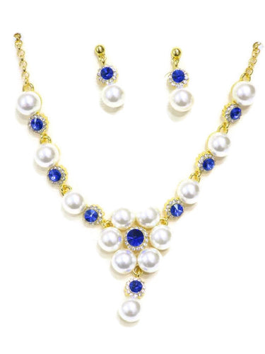 18 Kt Gold Plated Blue Crystal & Pearl Necklace and Earring Set - Jawaherat