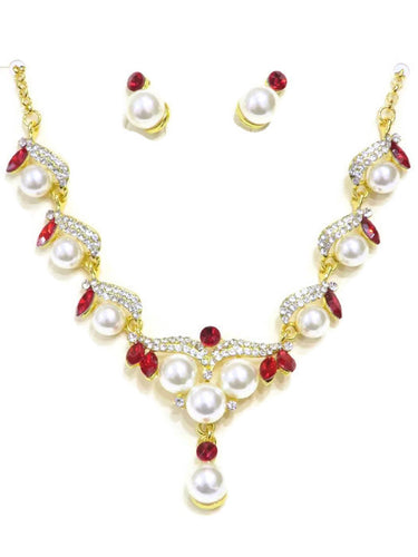 Red Crystal & Pearl Necklace and Earring Set - Jawaherat