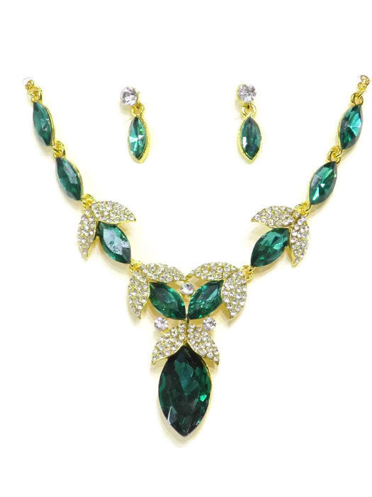 18Kt Gold Plated Green Crystal Necklace and Earring Set - Jawaherat