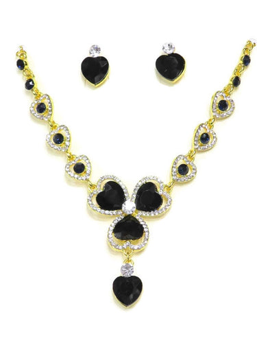 Heart Shape Black Crystal Necklace and Earring Set - Jawaherat