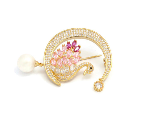 18k Women's Brooches Swan brooch pins