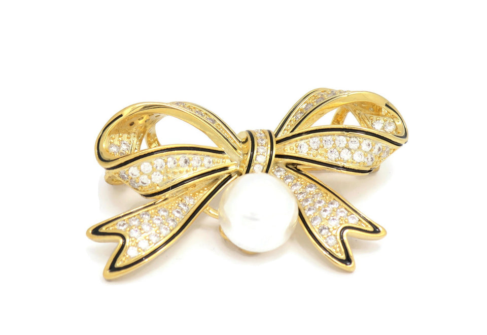 18kt  Contemporary, Crystal Textured Bow Brooch
