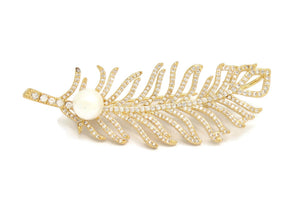 18kt  Feather Brooch Pins