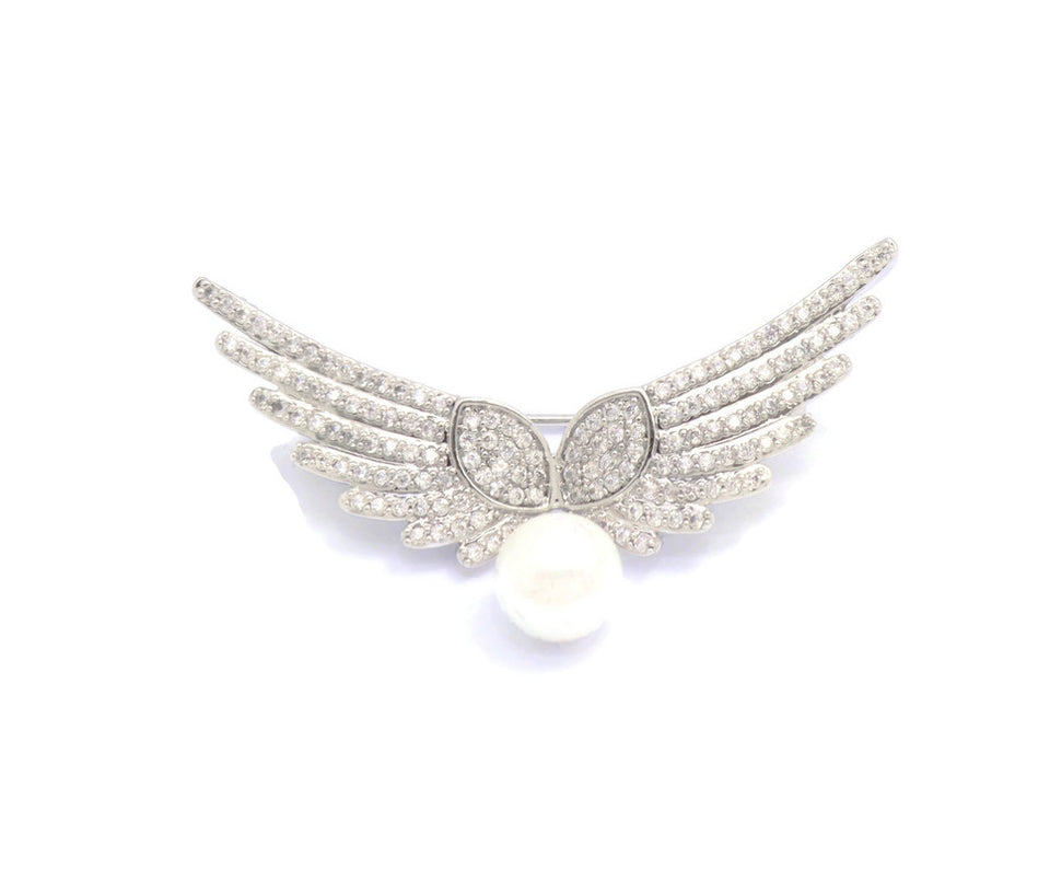 Rhodum plated Cubic Zirconia Brooches  Stylish Wings Medal design