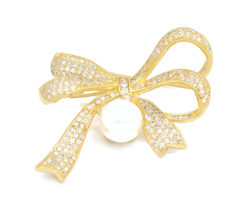 18kt Crystal Textured Bow Brooch