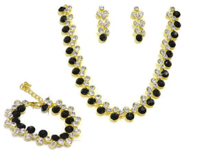 Black Crystal Necklace, Bracelet and Earring Set - Jawaherat