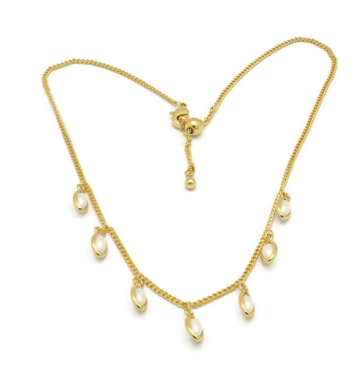 18K Gold Plated Adjustable choker necklace Gold Choker Charm Necklace Pearl stone Charms Necklace Gold Necklace Dainty Shapes Gold Necklace, Women's adjustable Circle Necklace