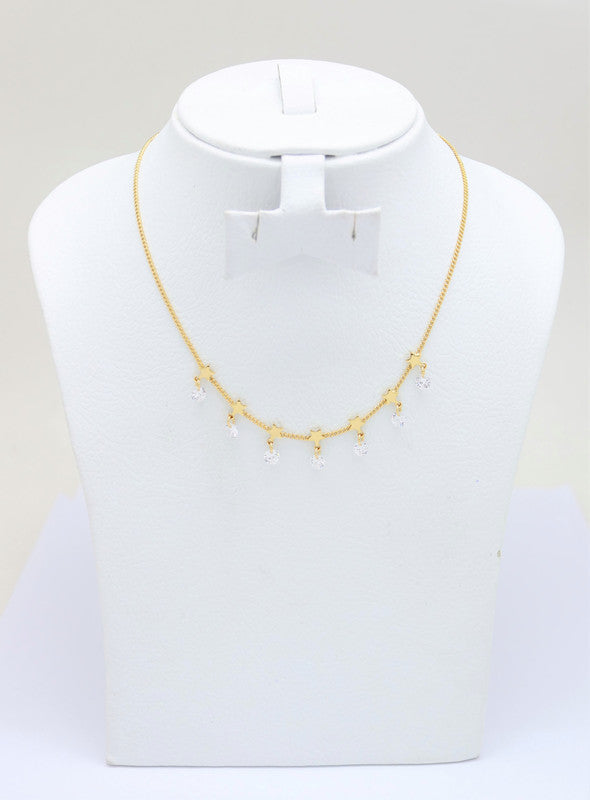 18K Gold Plated Adjustable Star choker necklace Gold Choker Charm Necklace Cubic White Stone and star Charms Necklace Gold Necklace Dainty Shapes Gold Necklace, Women's adjustable Circle Necklace