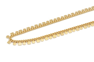 18K Adjustable Choker  Necklace with Geometric Charms