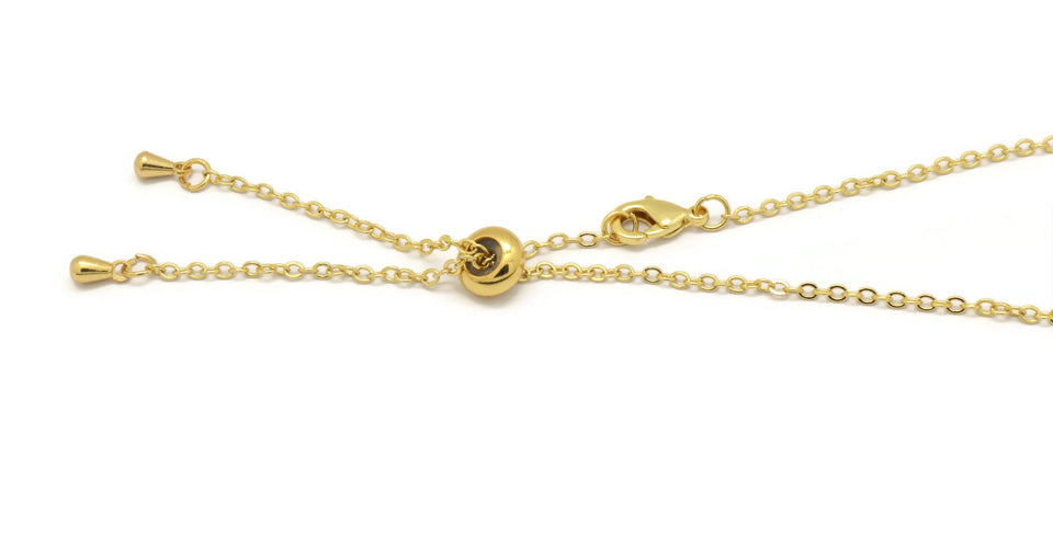 18K Adjustable Choker Charm Necklace