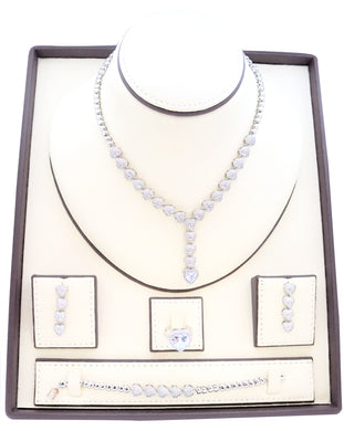 Heart designed Zirconia studded Rhodium plated jewelry set