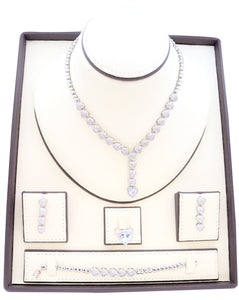 Necklaces for women, Zircon studded Jewelry set with rhodium dropping heart designs embedded with zircon stones.