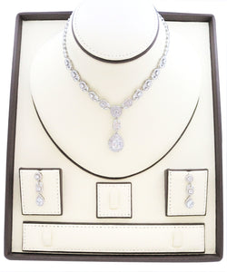 Necklaces for women, Zircon studded Jewelry set with rhodium Teardrop and leaf designs embedded with zircon stones.