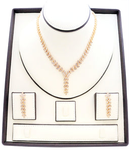 Gold leaf zirconia studded gold playted Necklace and earring set