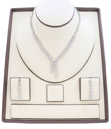 Necklace for women, Zircon studded Jewelry set with rhodium pebble designs embedded with zircon stones.