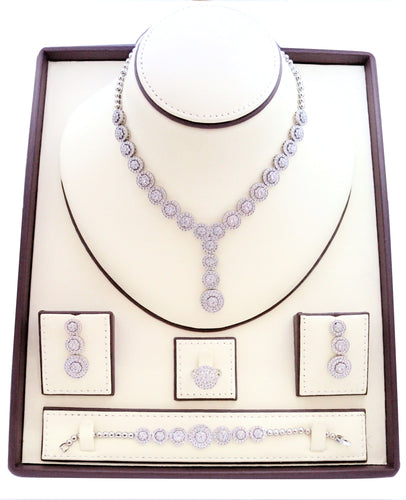 Necklaces for women, Zircon studded Jewelry set with rhodium spherical designs embedded with zircon stones.