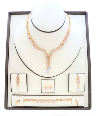 Heart designed Zirconia studded gold platted Jewelry set