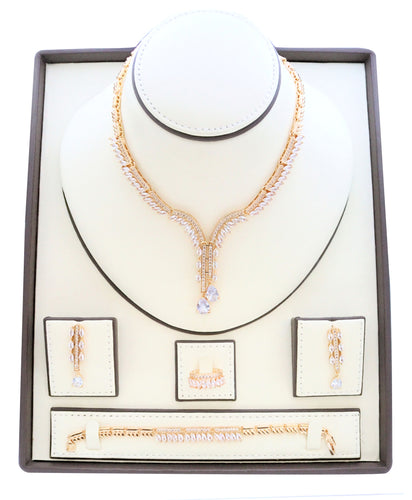 Necklaces for women, Zircon studded Jewelry set with rhodium dangling zircon stone designs embedded with zircon stones.