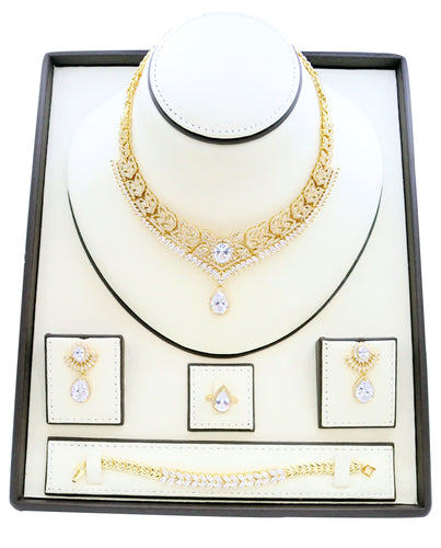 Necklaces for women, Zircon studded Jewelry set with gold leaf plated and dropping Zircon stone designs embedded with zircon stones.