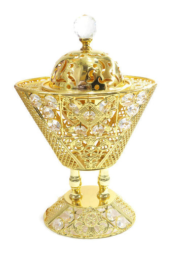 24 kt Gold Plated Charcoal Incense Burner - Jawaherat