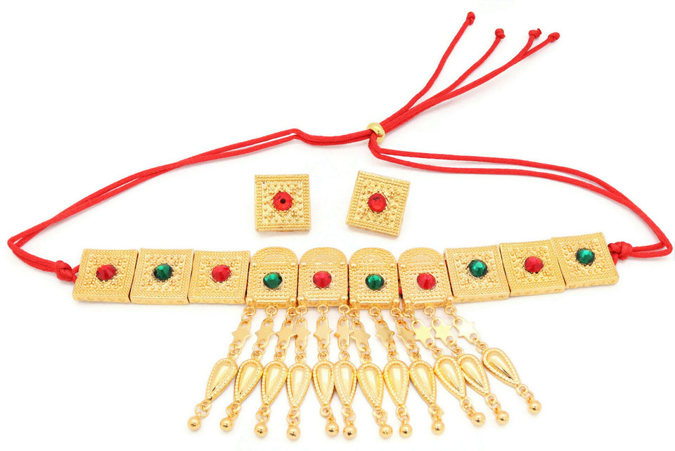 Women's Choker neckalce set, A Choker necklace with 18ct gold plated cube design with red and green stones and a red slider thread with dangling chain designs and pair of red stone earrings.