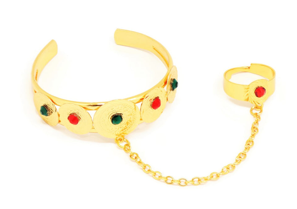 Coin shaped Cuff bracelet for Girls, Gold plating, Gem stone engravings and Ring attached.