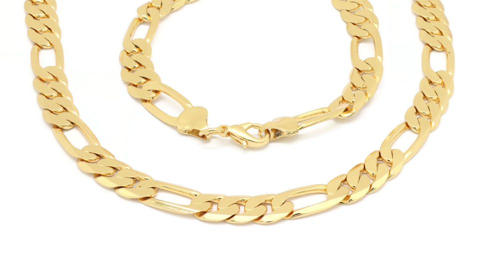 Figaro Gold plated Polished Necklace Chain + bracelet