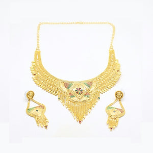 Cone Flower Indian Bridal Filigree Necklace & Earring Set, Multi-Colored, Gold Plating