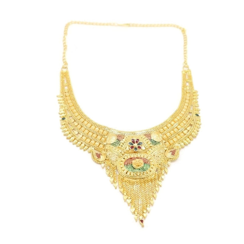 Ellipse Flower Indian Bridal Filigree Necklace & Earring Set, Multi-Colored, Gold Plating