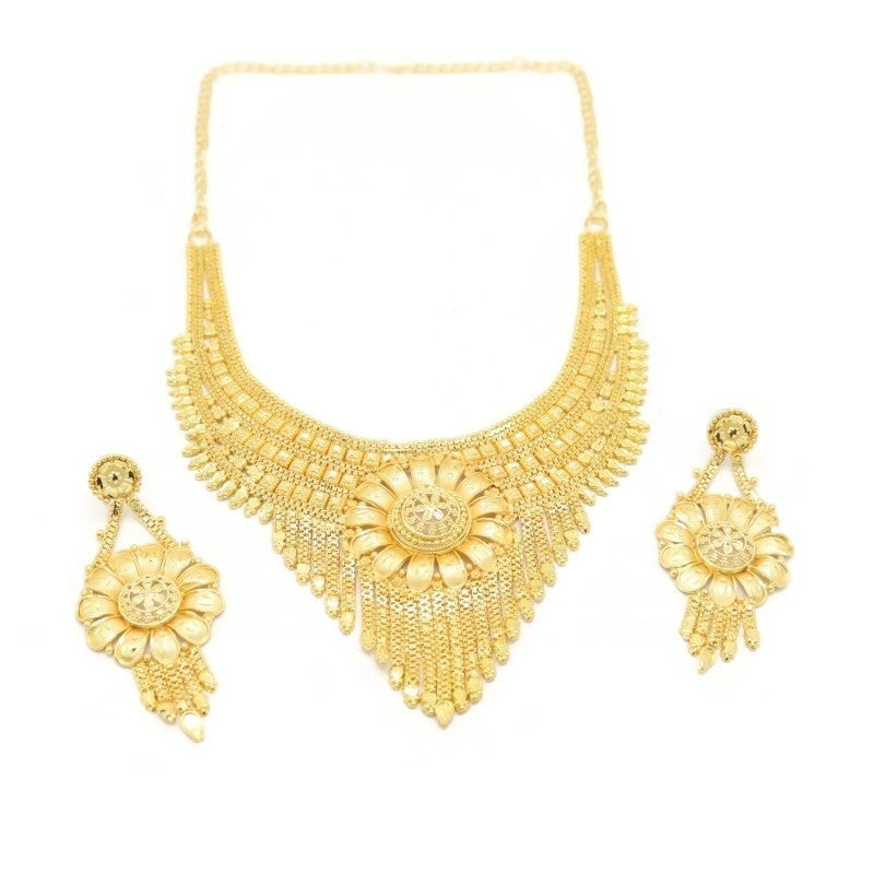 Sunflower Indian Bridal Filigree Necklace & Earring Set, Yellow, Gold Plating