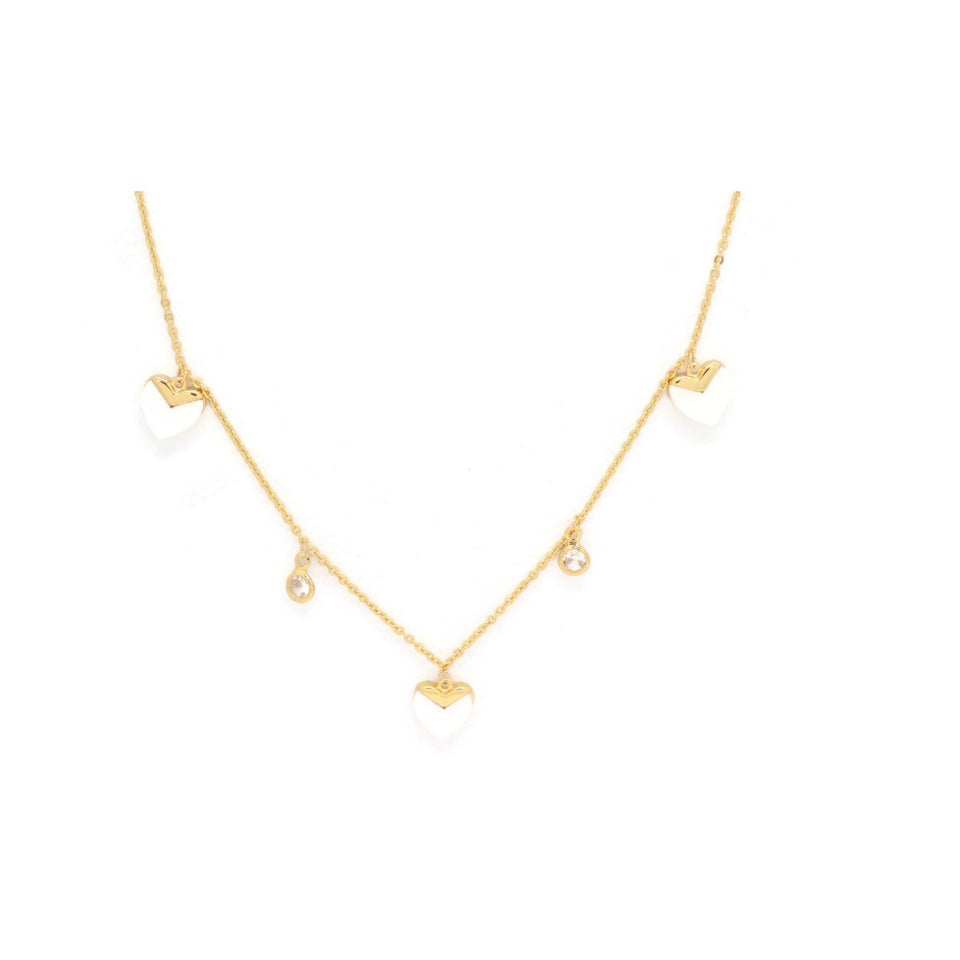 Triple Heart Necklace, White, Gold Plating
