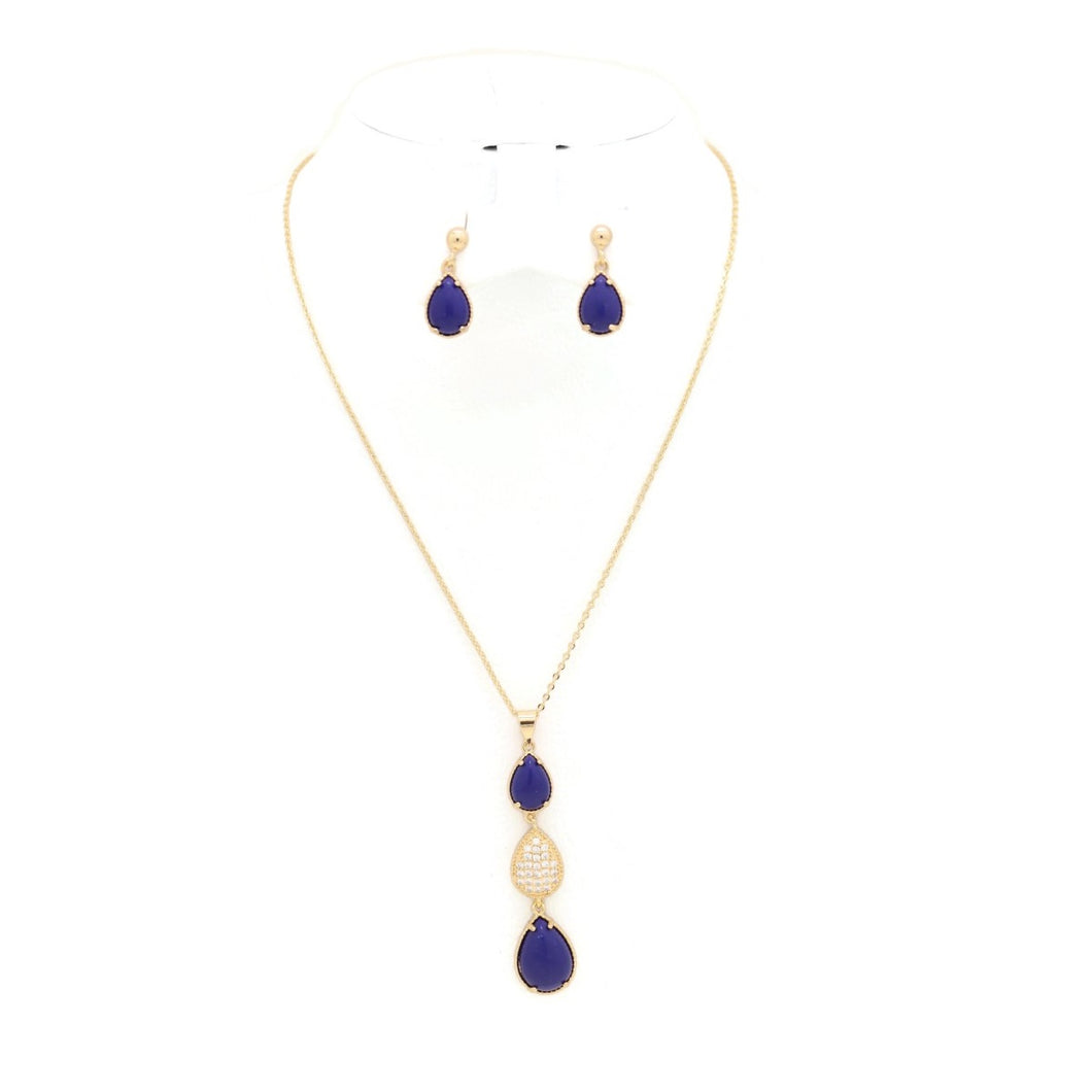 Sapphire Three Drop Necklace & Earring Set, Blue,  Gold Plating