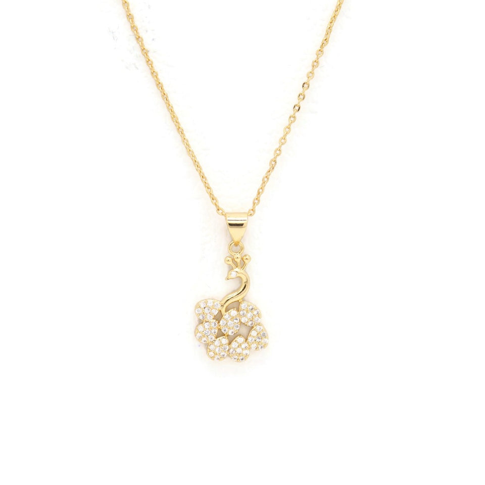 Peacock Pendant Necklace, White, Gold Plating