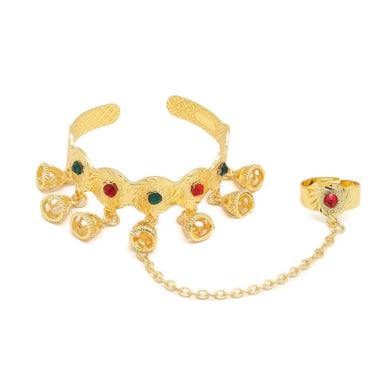 Bell-Shape Indian Jhumka Cuff Bracelet & Ring Set, Multi-Colored, Gold Plating