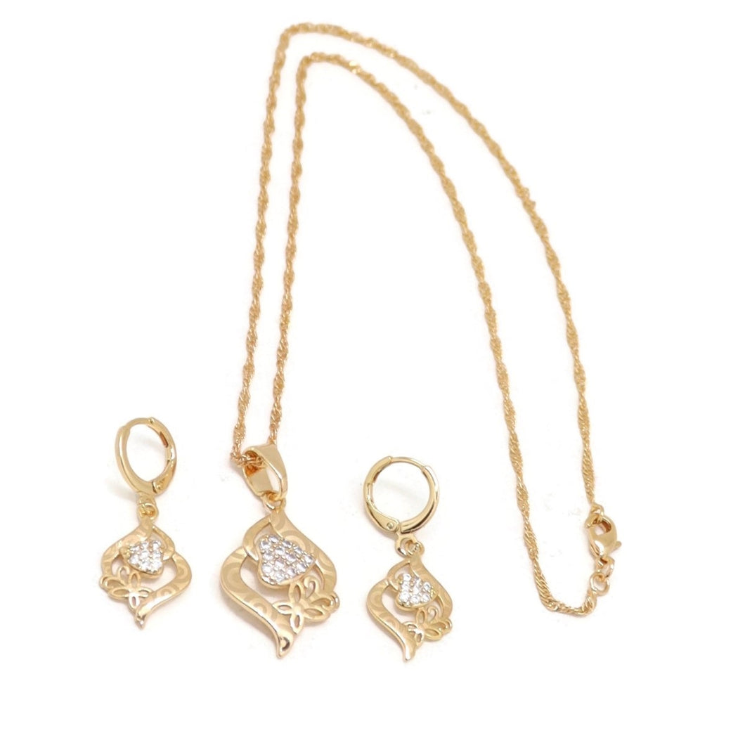 Butterfly Love Leaf Necklace & Earring Set, White, Gold Plating