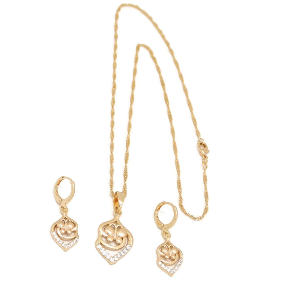 Leaf Butterfly Necklace & Earring Set, White, Gold Plating