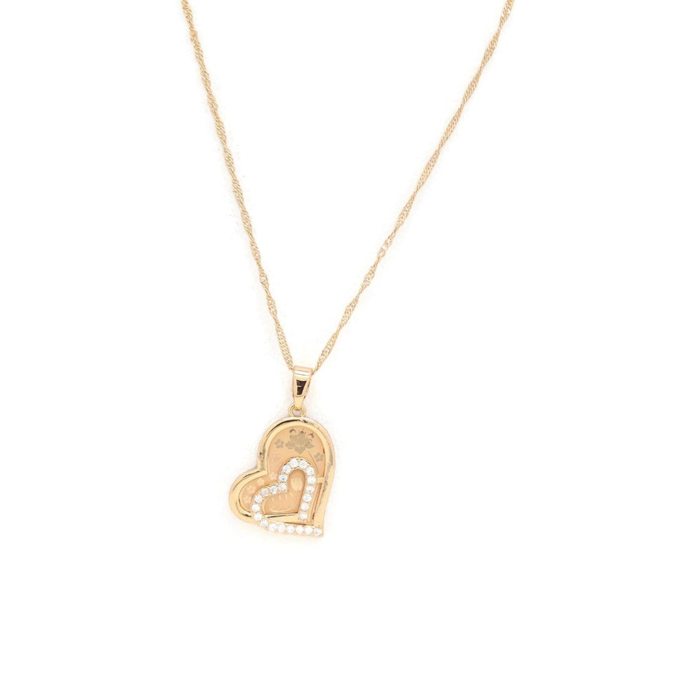 Twin Inner Hearts Pendant Necklace, White, Gold Plating