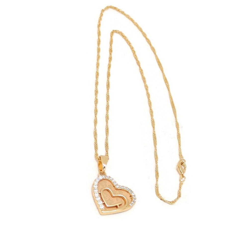 Twin Outer Hearts Pendant Necklace, White, Gold Plating