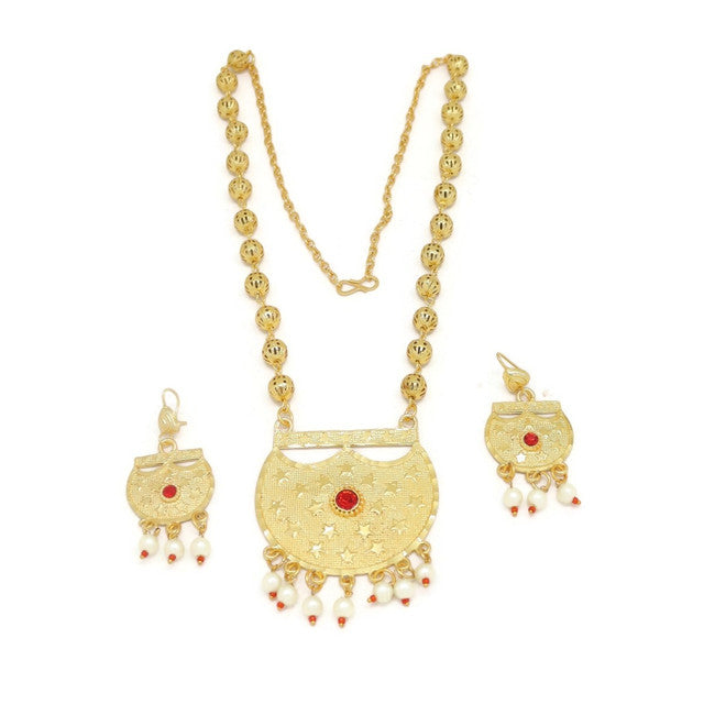 Pearl Crescent Filigree Necklace & Earring Set, Multi-Colored, Gold Plating