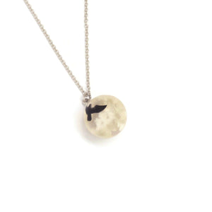 Sky Cloud Resin Ball Pendant Necklace, White, Silver Plating