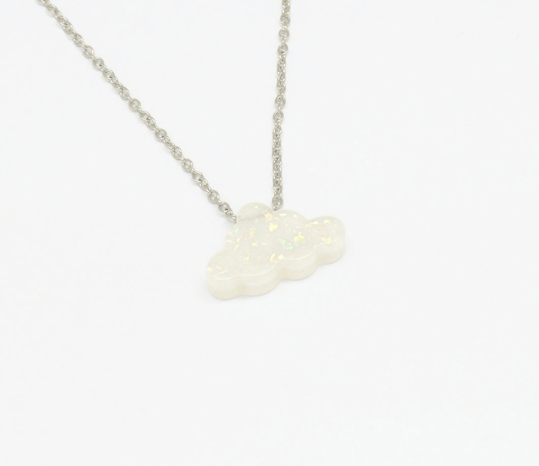 Cloud Charm Pendant Necklace, White, Silver Plating