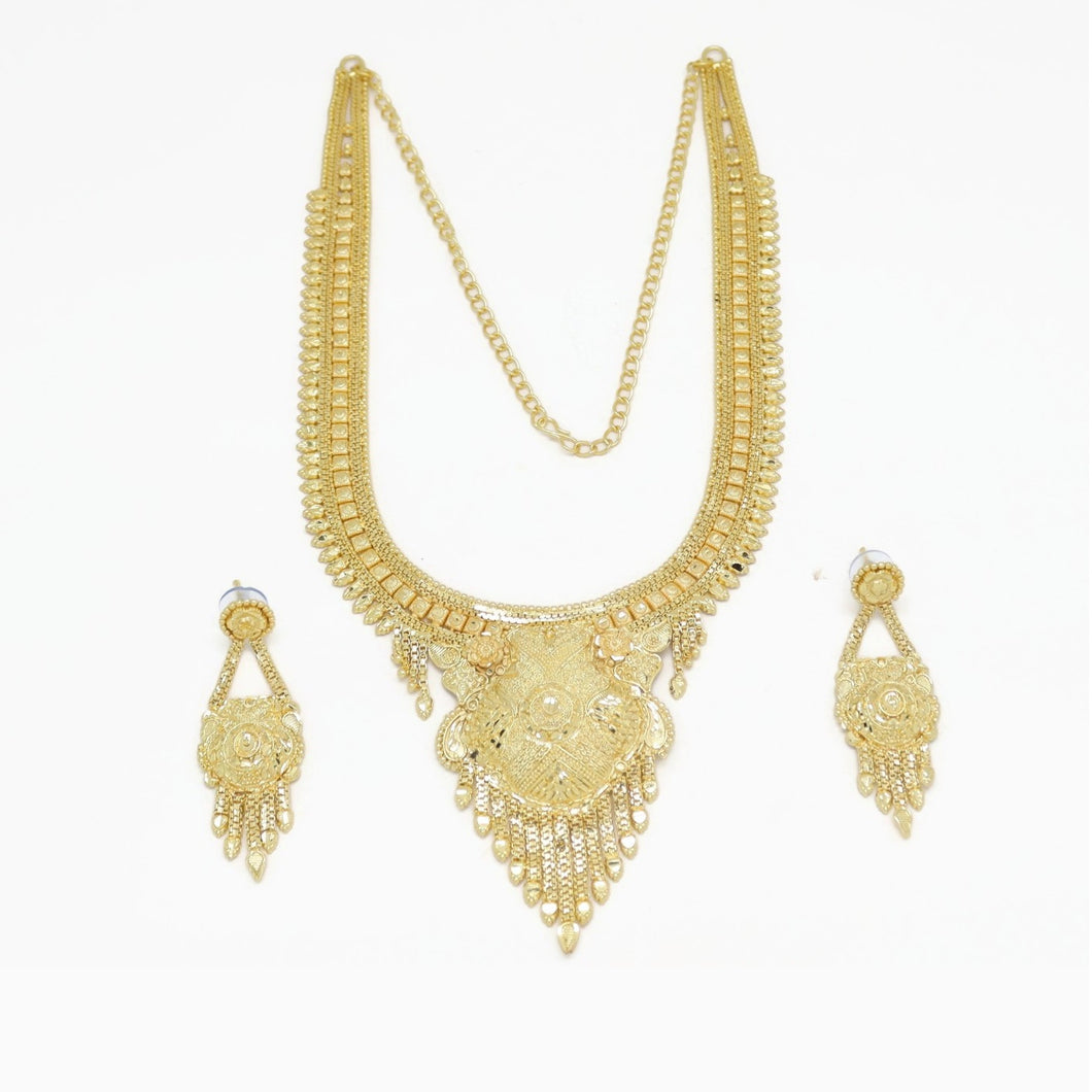 Flower Indian Bridal Filigree Necklace & Earring Set, Yellow, Gold Plating